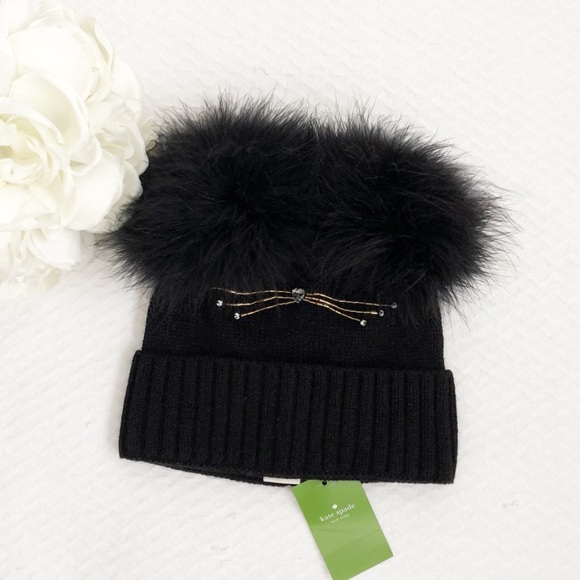 f7776c1d2 Kate Spade Cat Beanie With Marabou Pom NWT